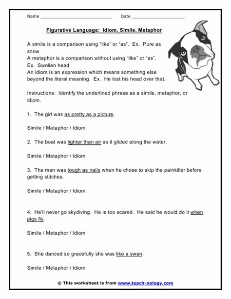 similes metaphors and personification worksheets
