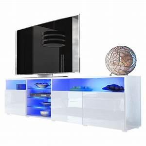 Tv Stand Unit Granada V2 In White    White High Gloss  Amazon Co Uk  Kitchen  U0026 Home