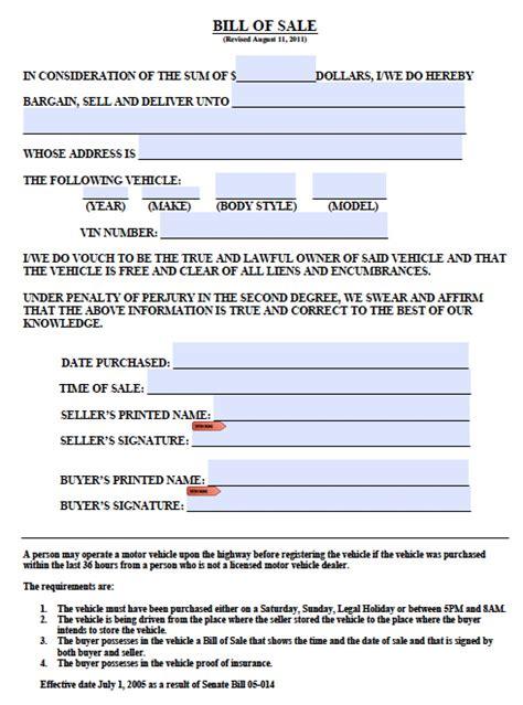 colorado boattrailer bill  sale form  word