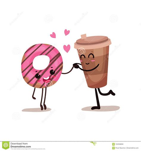 Large collections of hd transparent coffee mug png images for free download. Cup Of Coffee And Glazed Donut Characters Are Best Friends, Funny Fast Food Menu Vector ...