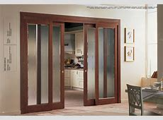 Frosted Glass Sliding Door With Wooden Trim For Home