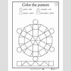 Color The Pattern Kindergarten Math Skills Worksheet (free)  Skills Learning Geometric Shapes
