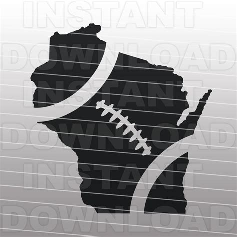 football wisconsin outline svg file cutting template clip