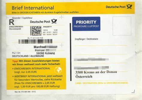 Dhl paket international direct bietet. Deutsche Post Brief Preise Einschreiben