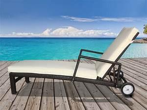 Bain De Soleil Resine Tressee : bain de soleil confort en r sine tress e roulettes coussin coloris cru 54452 ~ Teatrodelosmanantiales.com Idées de Décoration