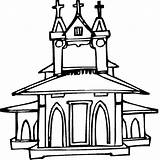 Church Coloring Pages Medieval Drawing Religious Building Getdrawings Kidprintables Return Main Church2 sketch template