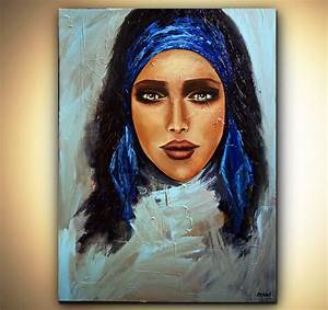 Painting - painting of amazingly beautiful woman face with ...