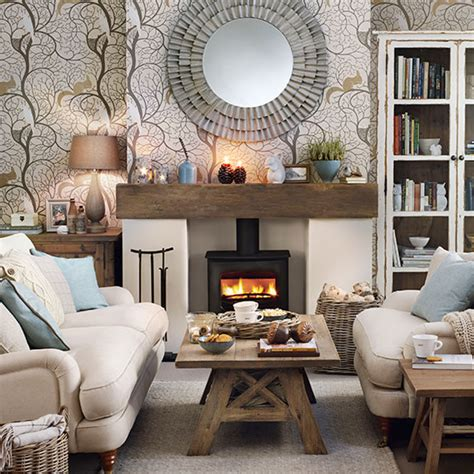 cosy woodland theme living room decorating ideal home
