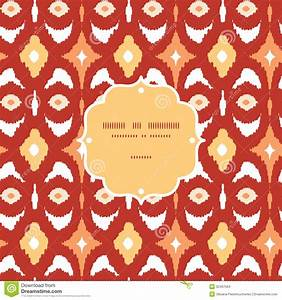 Red And Gold Ikat Geometric Frame Seamless Pattern Stock
