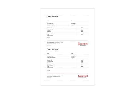 restaurant cash receipt template  word excel apple