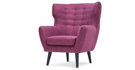 Wing Back Chair In Upholstered Plum Purple, Kubrick