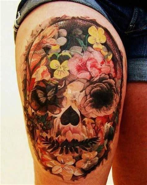Mexican Style Sugar Skull Dia Los Muertos Tattoo