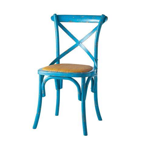 chaise en rotin naturel et bois bleu tradition maisons du monde