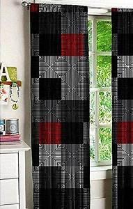 Modern, Digital, Blocks, Window, Panel, Pair, 52, U0026quot, X, 84, U0026quot, Gray, Red