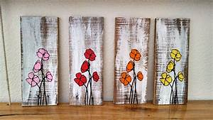 Hand painted poppy flower pallet board art Wall Hanging Wood