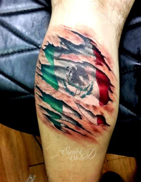 foto de 3D tattoo on calf Mexican flag Aztec tattoo Mexican