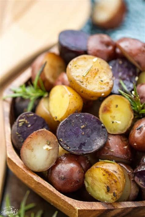 slow cooker garlic rosemary tri color potatoes life