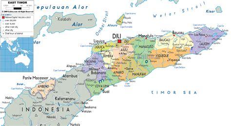 east timor political map east timor mappery