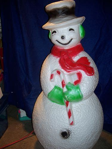 vintage large lighted blow snowman mold yard light up decoration snowman 41 quot light plastic outdoor ebay vintage