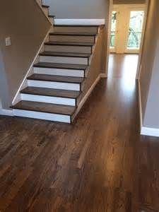 hardwood flooring for stairs refinished hardwood stairs and floor dustless refinishing of wood floors pinterest colors