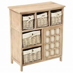 Meuble A Panier : meuble paniers aby bois 1 porte meuble de rangement ~ Teatrodelosmanantiales.com Idées de Décoration