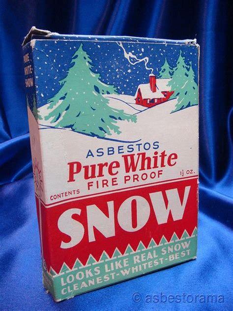 pure white asbestos fireproof snow vintage packaging