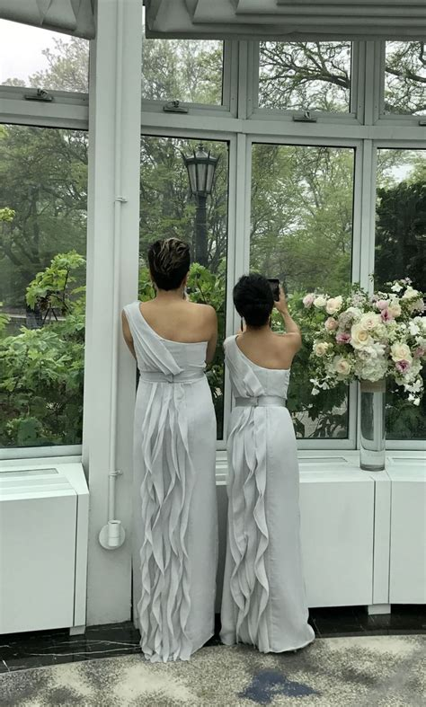Vera Wang White One Shoulder Bridesmaid Dress Ruffles