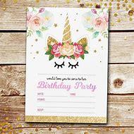 Unicorn Birthday Party Invitations Blank