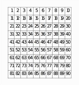 Number chart sample 7 documents in pdf word for Template for numbers 1 100