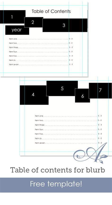 Table Of Contents For Blurb