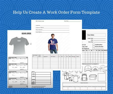 custom apparel work order form ready