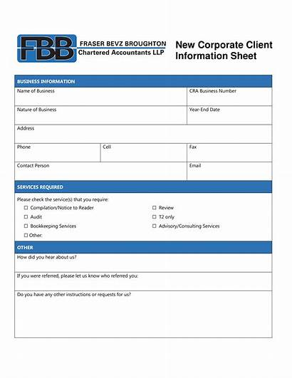 Client Sheet Corporate Template Bookkeeping Form Intake
