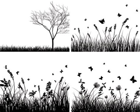 grass silhouette vector set ai svg eps vector