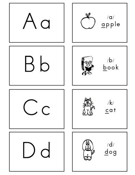 printable alphabet flash cards black  white