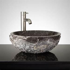 Round, Chiseled, Marble, Vessel, Sink, -, Dark, Emperador, Marble
