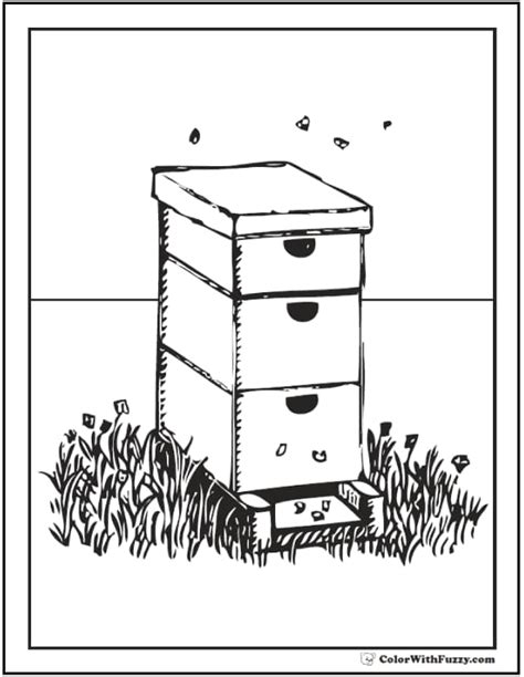 bee coloring pages hives flowers  honey