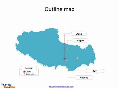 Tibet Map Powerpoint Templates Divisions Outline Region