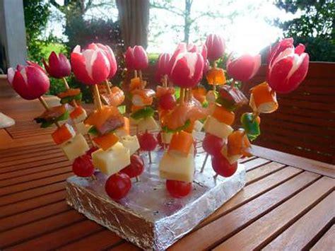 fleurs de ciboulette en cuisine recette de crudités sur piques