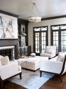 chic elegant living room with taupe molding taupe built