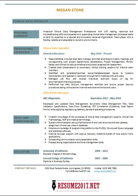 clinical data specialist resume 2017 exles
