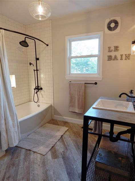 Modern Bathroom With Wood Tile by Complete Bathroom Remodel In The Modern Farmhouse Style
