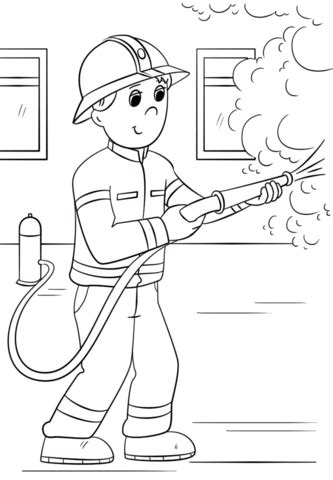 cartoon firefighter coloring page  printable coloring pages
