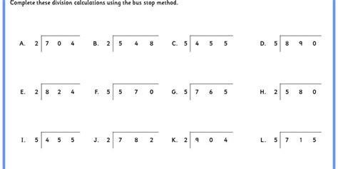 six differentiated worksheets for bus stop method division from dividing 2 digit numbers by 2