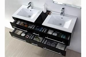 Meuble Double Vasque Suspendu : meuble salle de bain sam noir laqu avec vasque en cramique 140 cm 015 n ~ Melissatoandfro.com Idées de Décoration