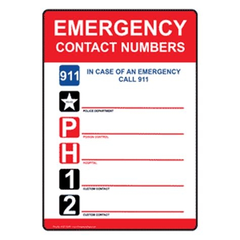 phone number contact emergency contact list www compliancesigns