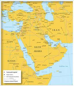 Map of Southwestern Asia & Middle East. Country Boundaries ...