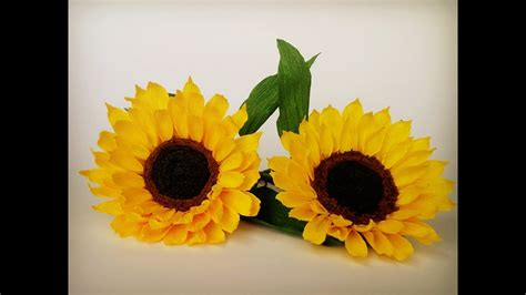 How To Make Sunflower Paper Flower From Crepe