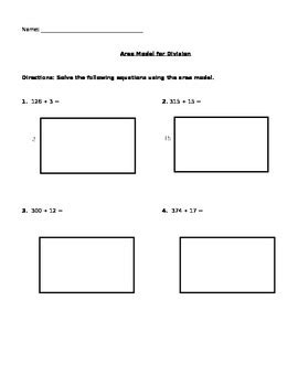 division worksheets area model problems for area model for division by the math whisperer tpt