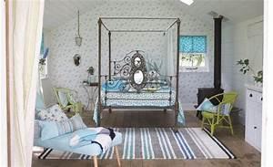deco et meubles shabby chic diy idees inspirantes With tapis chambre bébé avec canape lit en fer