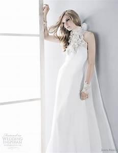high collar neckline white satin wedding dress sang maestro With high neckline wedding dress
